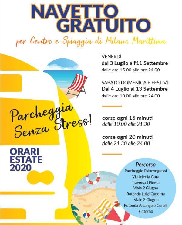 Navetta gratuita a Milano Maritttima, locandina estate 2020