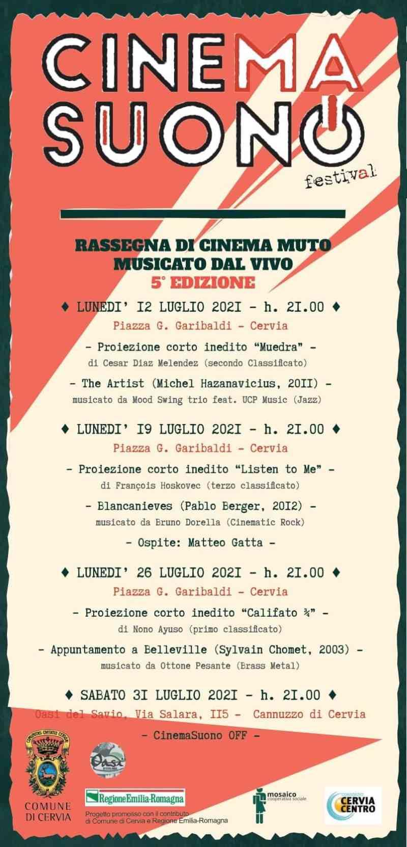 CinemaSuono a Cervia, locandina programma 2021