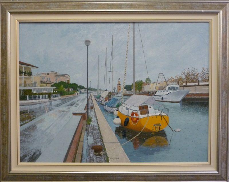 Angelo Piraccini, porto canale di Cervia in una giornata di pioggia