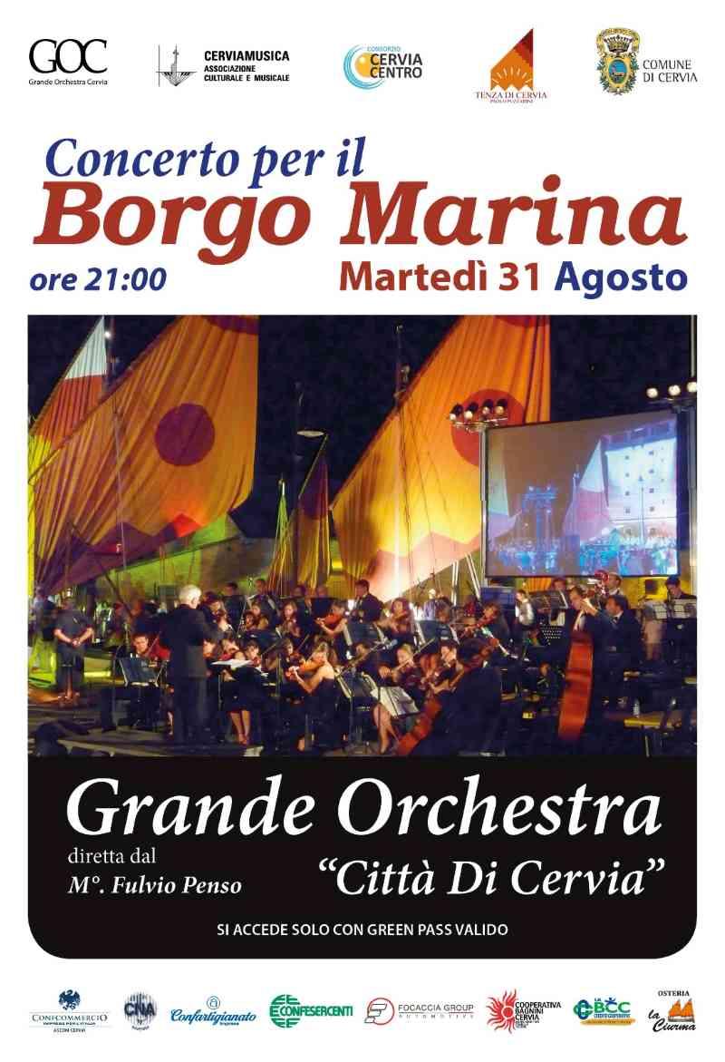 Grande Orchestra Città di Cervia, locandina concerto per il Borgo Marina