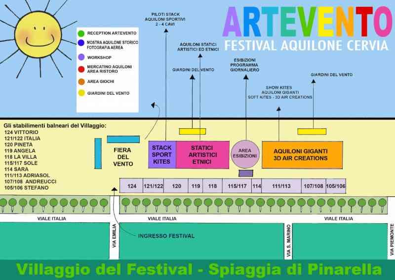 ARTEVENTO - Festival Internazionale dell'Aquilone, mappa 2021