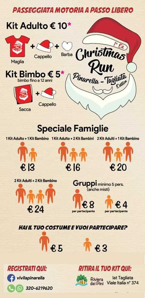 Christmas Run Pinarella Tagliata, tariffe