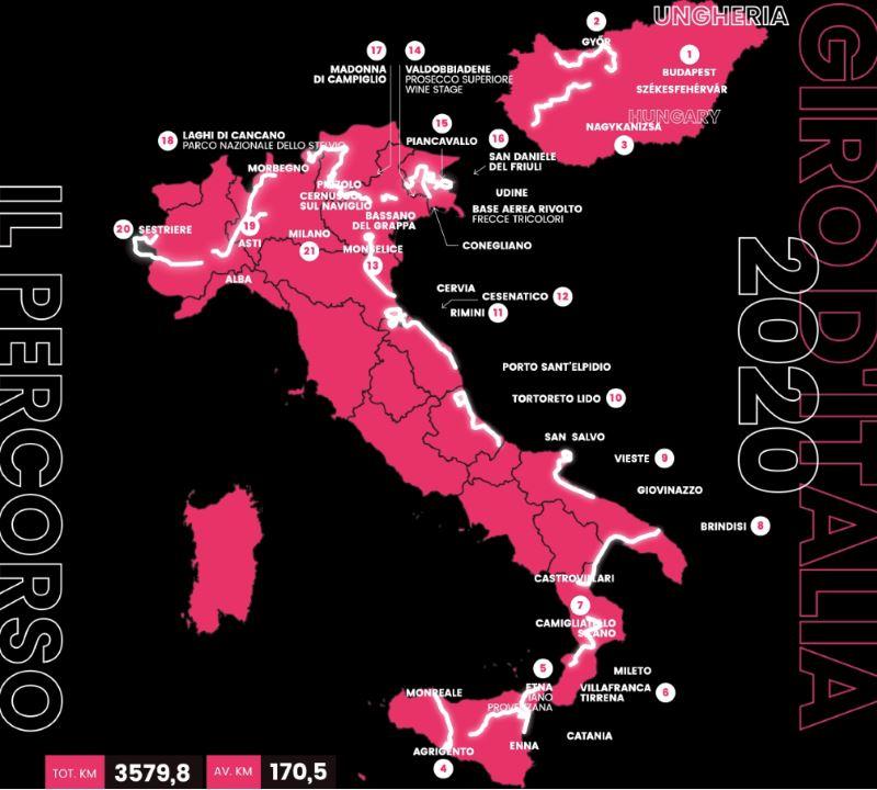 Giro d'Italia, percorso 2020
