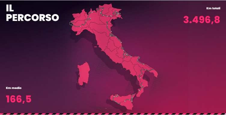 Giro d'Italia, percorso ottobre 2020