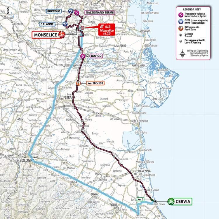 Giro d'Italia - tappa Cervia - Monselice planimetria