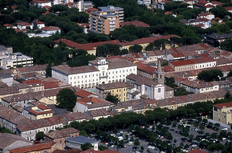 Luftaufnahme des Vierecks, historisches Zentrum