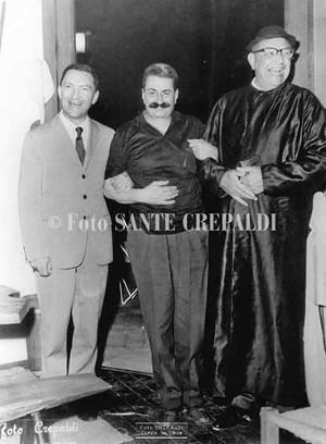 Giovannino Guareschi e Silvano Collina - Ph. Sante Crepaldi