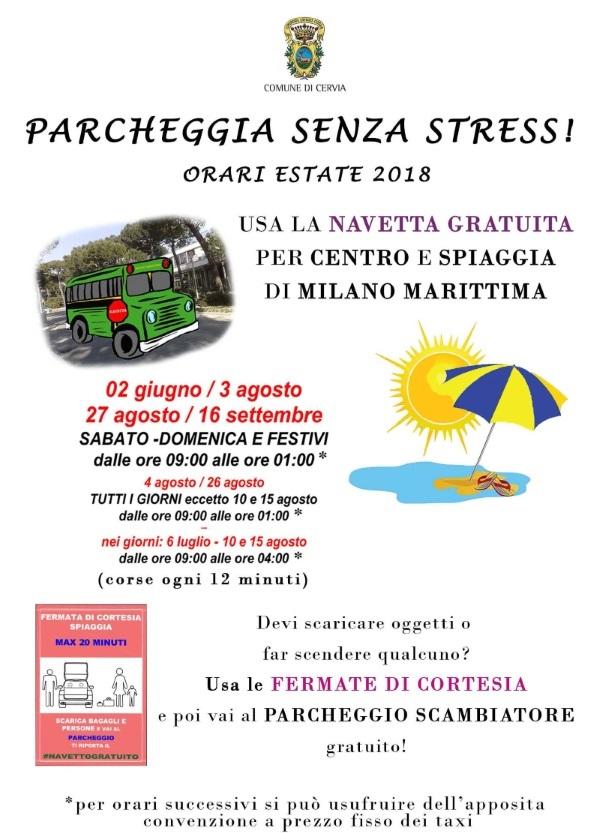 Navetta gratuita a Milano Marittima, locandina estate