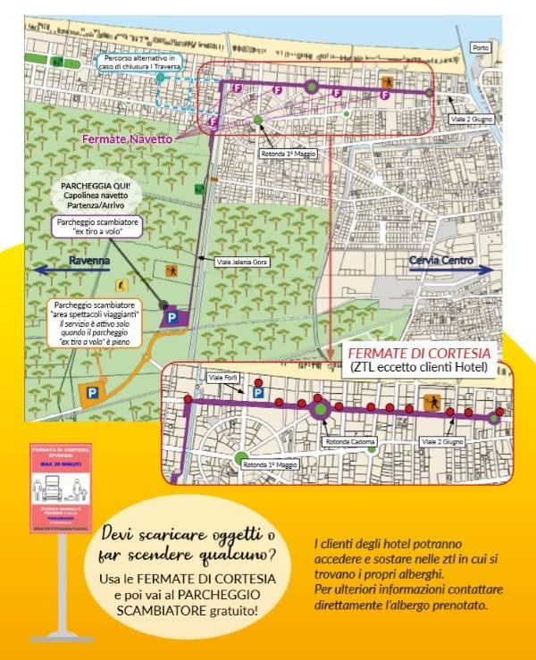 Navetta gratuita a Milano Marittima, locandina estate 2019, mappa