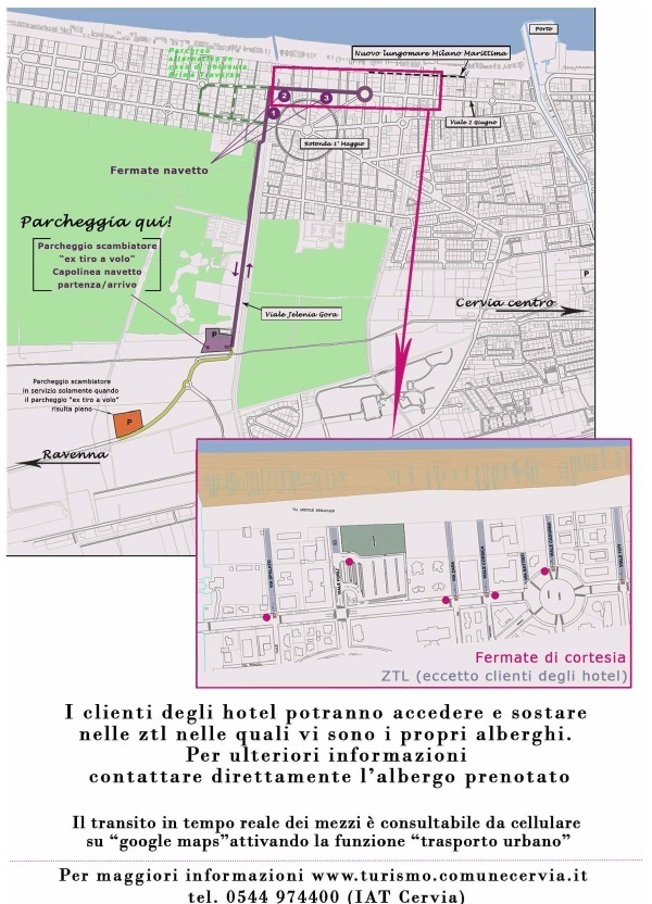 Navetta gratuita a Milano Marittima, locandina estate, mappa