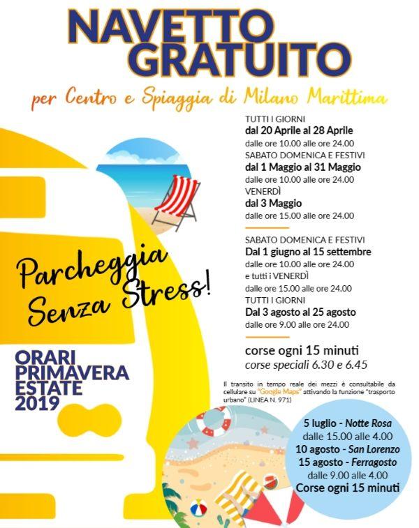 Navetta gratuita a Milano Maritttima, locandina estate 2019
