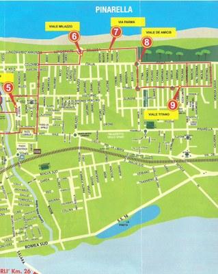 Trenino Mappa percorso Pinarella