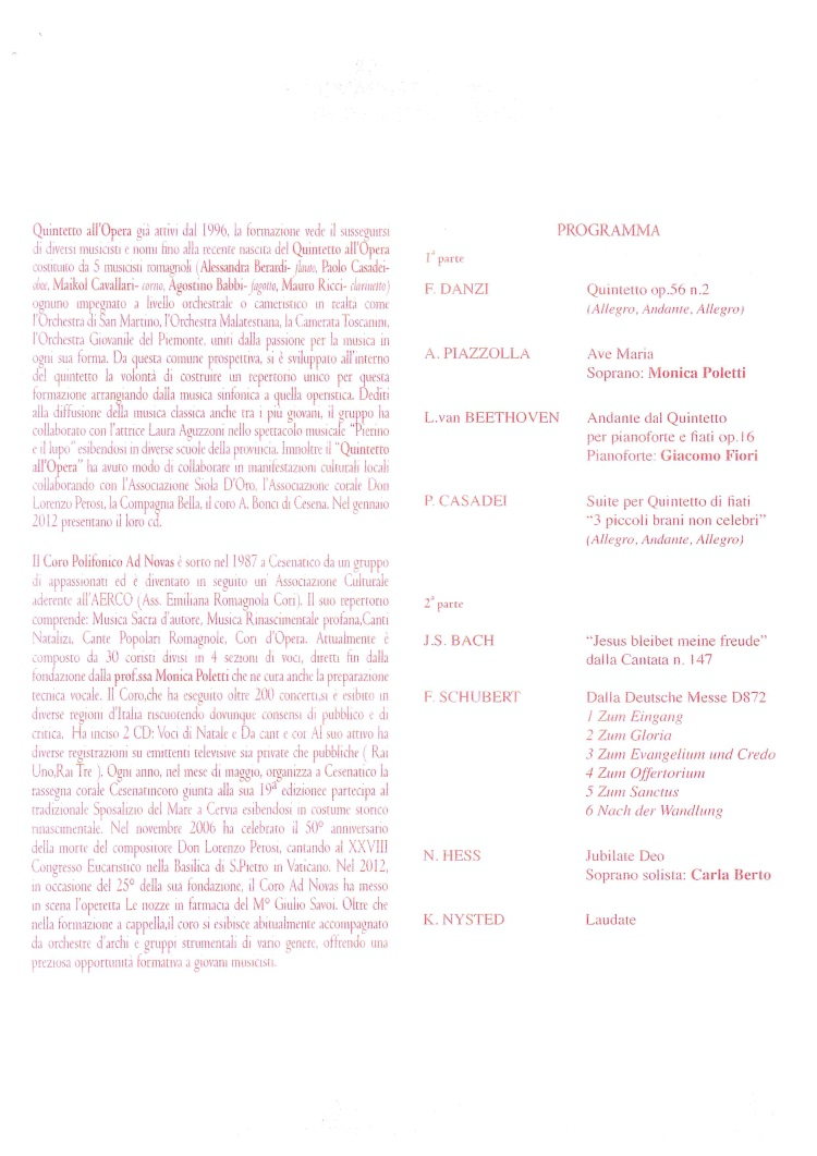 Concerto di Pasqua, programma