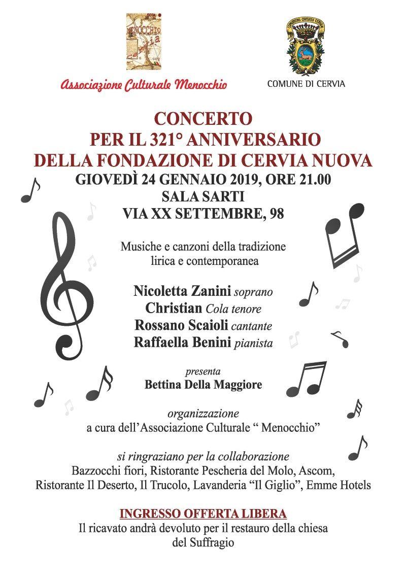 Concerto per il 321° anniversario della fondazione di Cervia nuova, volantino