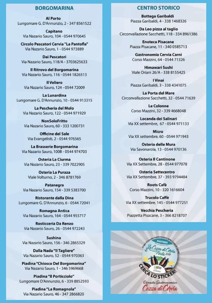 La cozza di Cervia in festa, elenco ristoranti