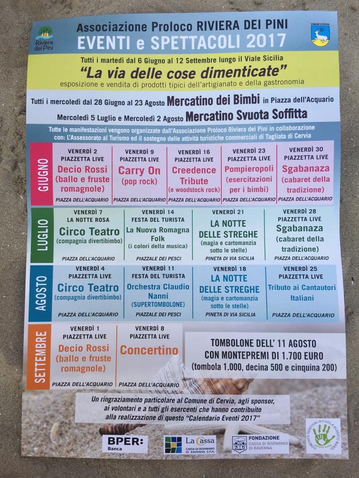 Manifestazioni Riviera dei Pini - locandina eventi - 720x960