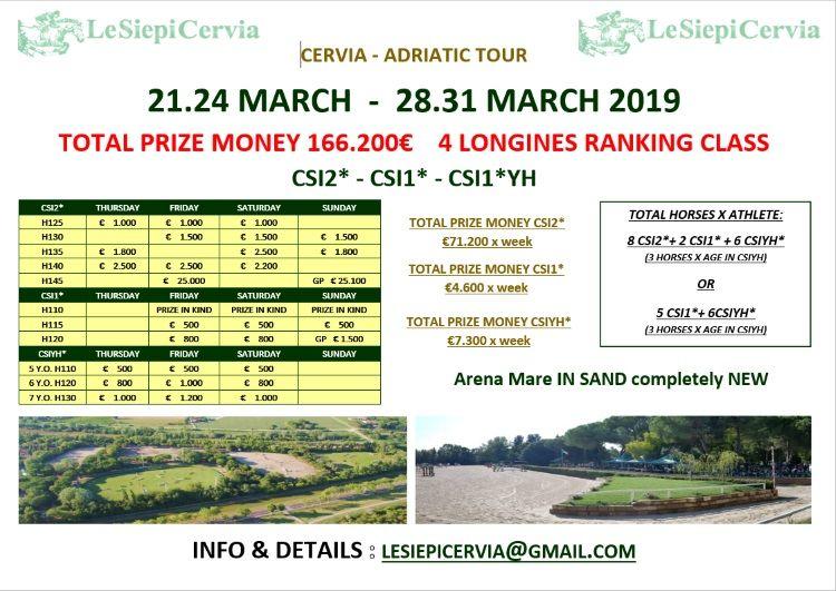 Adriatic Tour 2019, programma