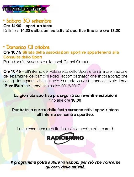 Festa dello sport - programma - 2^parte