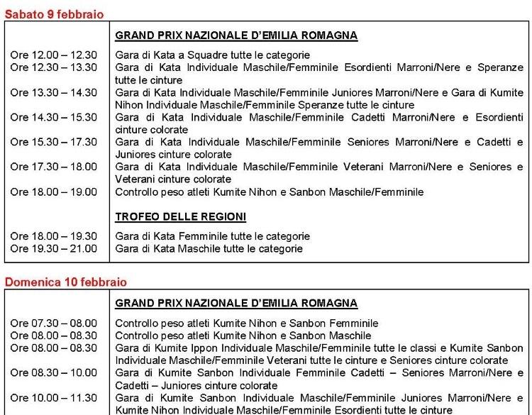 Grand Prix Nazionale d'Emilia Romagna e Trofeo delle Regioni, programma parte 1